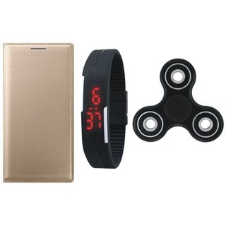 Oppo A37 Premium Leather Cover with Spinner, Digital Watch by Vivacious