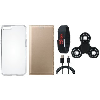 Oppo A37F Premium Leather Cover with Spinner, Silicon Back Cover, Digital Watch and USB Cable by Vivacious