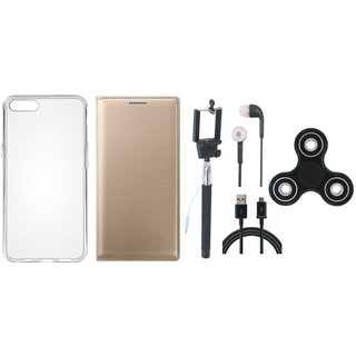 Oppo A37F Premium Leather Case with Spinner, Silicon Back Cover, Selfie Stick, Earphones and USB Cable