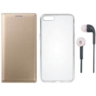 Oppo A37 Premium Quality Leather Cover with Silicon Back Cover and Earphones by Vivacious