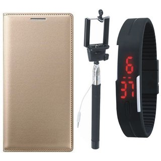 Oppo A37 Leather Flip Cover with Selfie Stick and Digtal Watch by Vivacious