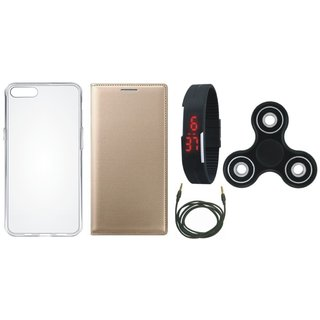 Oppo A37F Premium Leather Cover with Spinner, Silicon Back Cover, Digital Watch and AUX Cable by Vivacious