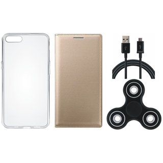 Oppo A37 Stylish Leather Cover with Spinner, Silicon Back Cover, USB Cable by Vivacious