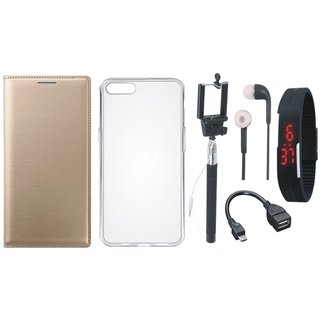 Oppo A37F Stylish Leather Flip Cover with Silicon Back Cover, Selfie Stick, Digtal Watch, Earphones and OTG Cable