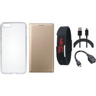 Vivo Y69 Stylish Cover with Silicon Back Cover, Digital Watch, OTG Cable and USB Cable