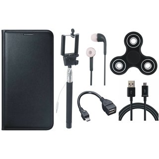 Oppo A37F Premium Leather Cover with Spinner, Selfie Stick, Earphones, OTG Cable and USB Cable