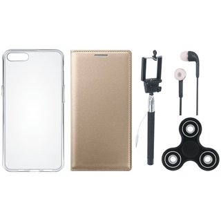 Oppo A37 Stylish Leather Cover with Spinner, Silicon Back Cover, Selfie Stick and Earphones by Vivacious