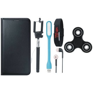 Oppo A37F Stylish Leather Cover with Spinner, Selfie Stick, Digtal Watch, Earphones and USB LED Light