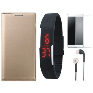 Oppo A37F Leather Flip Cover with Free Digital LED Watch, Tempered Glass and Earphones by Vivacious