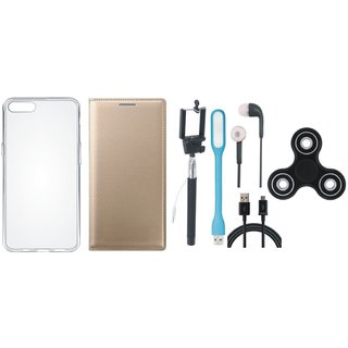 Oppo A37F Sleek Leather Cover with Spinner, Silicon Back Cover, Selfie Stick, Earphones, USB LED Light and USB Cable