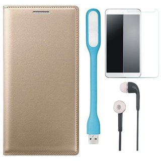 Vivo V7 Stylish Leather Flip Cover with Tempered Glass, Earphones and USB LED Light