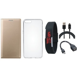 Oppo A37 Flip Cover with Silicon Back Cover, Digital Watch, OTG Cable and USB Cable by Vivacious