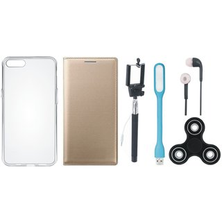 Oppo A37 Stylish Leather Cover with Spinner, Silicon Back Cover, Selfie Stick, Earphones and USB LED Light by Vivacious