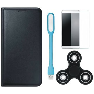 Vivo Y69 Premium Leather Case with Spinner, Tempered Glas and USB LED Light by Vivacious