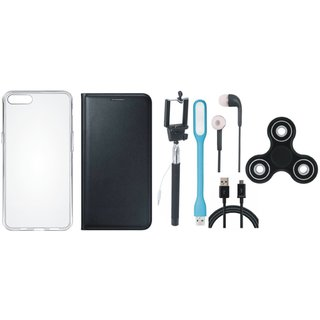 Oppo A37F Sleek Leather Cover with Spinner, Silicon Back Cover, Selfie Stick, Earphones, USB LED Light and USB Cable by Vivacious