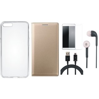 Vivo V7 Stylish Leather Flip Cover with Silicon Back Cover, Tempered Glass, Earphones and USB Cable