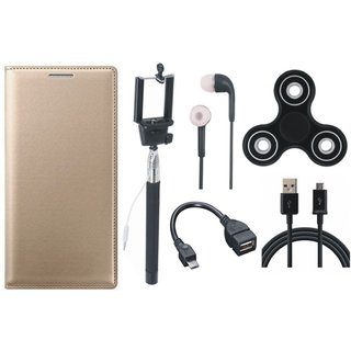 Oppo A37F Sleek Leather Cover with Spinner, Selfie Stick, Earphones, OTG Cable and USB Cable