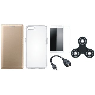 Oppo A37F Stylish Leather Cover with Spinner, Silicon Back Cover, Tempered Glass and OTG Cable by Vivacious