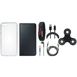 Oppo A57 Premium Leather Case with Spinner, Silicon Back Cover, Digital Watch, Earphones, USB Cable and AUX Cable by Vivacious