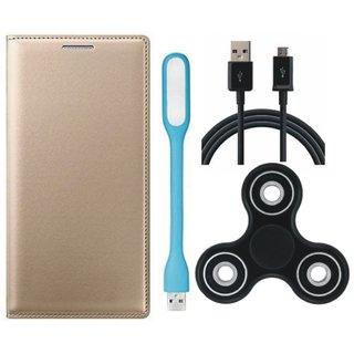 Oppo A57 Sleek Leather Cover with Spinner, USB LED Light and USB Cable