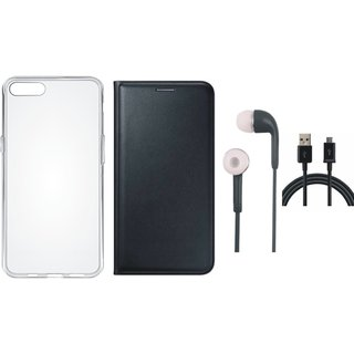 Oppo A57 Stylish Leather Flip Cover with Silicon Back Cover, Earphones and USB Cable by Vivacious