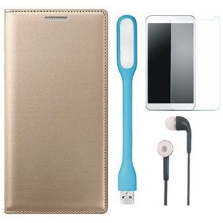 Oppo A57 Flip Cover with Tempered Glass, Earphones and USB LED Light by Vivacious