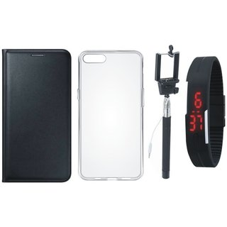 Oppo A57 Flip Cover with Silicon Back Cover, Selfie Stick and Digtal Watch