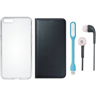 Oppo A57 Stylish Leather Flip Cover with Silicon Back Cover, Earphones and USB LED Light by Vivacious