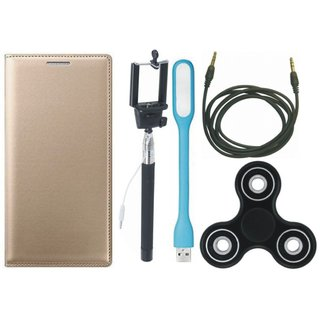 Oppo A57 Premium Leather Case with Spinner, Selfie Stick, USB LED Light and AUX Cable
