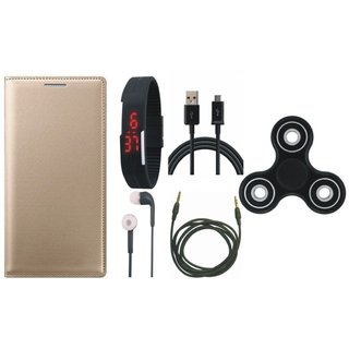 Oppo A57 Premium Leather Cover with Spinner, Digital Watch, Earphones, USB Cable and AUX Cable by Vivacious