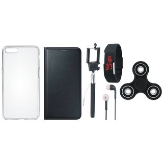 Oppo A57 Premium Leather Case with Spinner, Silicon Back Cover, Selfie Stick, Digtal Watch and Earphones by Vivacious