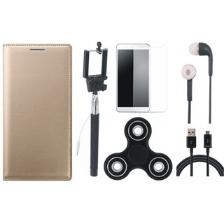 Oppo A57 Stylish Leather Cover with Free Spinner, Selfie Stick, Tempered Glass, Earphones and USB Cable by Vivacious