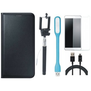 Oppo A57 Flip Cover with Free Selfie Stick, Tempered Glass, LED Light and USB Cable