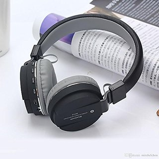 SH-12 Wireless/Bluetooth Headphone with FM and SD Card Slot with Music and Calling Controls (Black)
