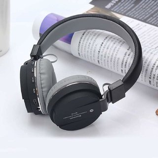 SH-12 Wireless/Bluetooth  Over the Ear Headphone with FM and SD Card Slot with Music and Calling Controls (Black)