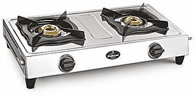 Sunflame Shakti Stainless Steel 2 Burner Gas Stove Silver