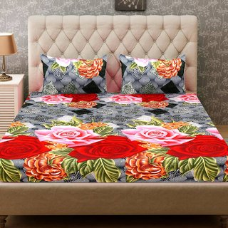 Choco 1 Double Bed-sheet with 2 Pillow Covers-SHCPCD06RD