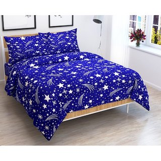 Choco Blue Star Double Bedsheet + 2 Pillow Cover Pack of 1