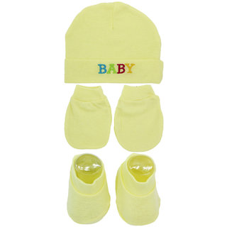 Neska Moda Baby Yellow Mittens Booties with Cap Set 3 Pcs Combo 0 To 6 Months