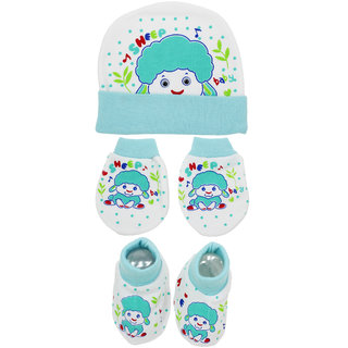 Neska Moda Baby Blue Mittens Booties with Cap Set 3 Pcs Combo 0 To 6 Months