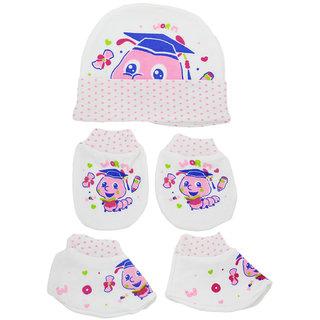 Neska Moda Baby Pink Mittens Booties with Cap Set 3 Pcs Combo 0 To 6 Months