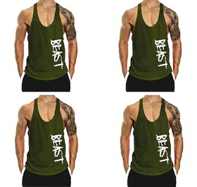 The Blazze Men's Beast Tank Tops Muscle Gym Bodybuilding Vest Fitness Workout Train Stringers Pack Of 4