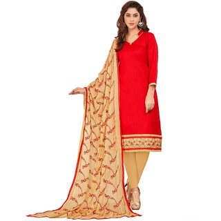 8ffcc70d86 Dnveens Red embroidered slub cotton salwar with dupatta dress material