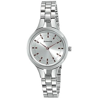 58f9c11600a Buy Sonata Steel Daisies Analog Silver Dial Womens Watch-8151SM01 ...