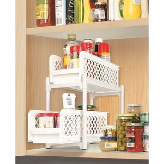 ZEVORA 2 Tier Portable Basket Drawers Bathroom Kitchen Space Saving Storage Containers