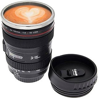 ZEVORA Coffee Lens Emulation Camera Mug Cup Beer Cup Wine Cup Without Lid Black Plastic CupCaniam Logo 480Ml- Black