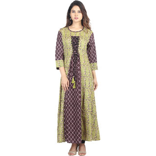 Hastakala Brown Block Print Silk Stitched Kurti