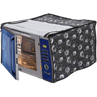 Glassiano Floral Grey Printed Microwave Oven Cover for LG 20 Litre Solo Microwave Oven MS2043DB Black