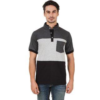 Aurelio Marco Half Henley Antra Grey Black T Shirt