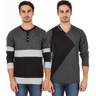 Aurelio Marco Grindle Black Henley & Antra Grey Black V Neck T Shirt